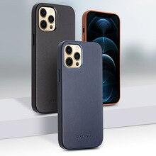 Qialino caso do telefone de couro genuíno para iphone 11pro max anti queda moda luxo ultra fino capa traseira para iphone12 mini pro max