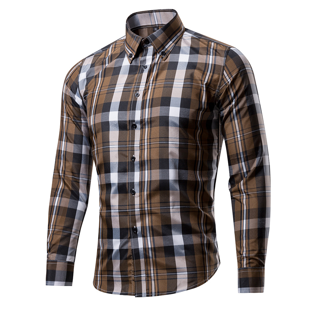 Spring And Autumn Men's Cotton Polyester Plaid Shirt Street Star Version Men's Long Sleeve Turn Down Collar Casual Shirt