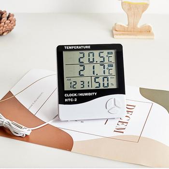 LCD czas pulpit zegary stołowe termometr higrometr miernik cyfrowy podwójna sonda czujnik temperatury zegar pogody tanie i dobre opinie VKTECH termometr higrometr NONE CN (pochodzenie) Thermo Hygrometer 49 ° C i Pod DIGITAL Indoor Ładowarka do zawieszenia na ścianie