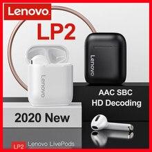 Novo tws originais lenovo lp2 bluetooth 5.0 caixa de carregamento sem fio fones fones de ouvido atualização esportes estéreo à prova dwaterproof água