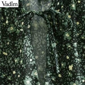 Image 4 - Vadim kadınlar chic çiçek desen mini elbise düz papyon uzun kollu kadın retro sevimli temel günlük elbiseler QD075