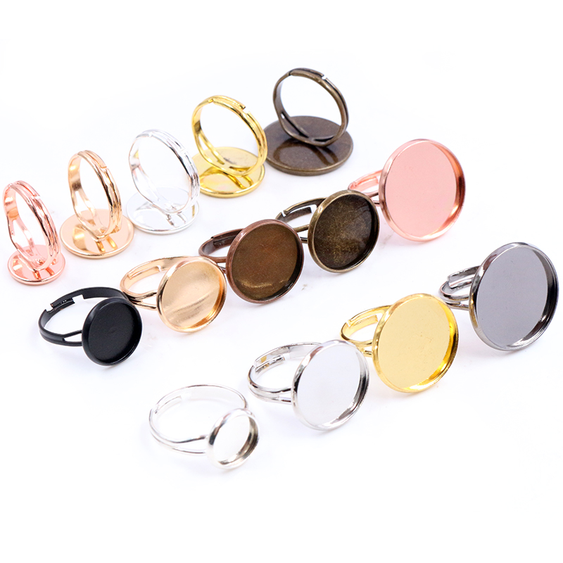 10/12/14/16/18/20mm 10pcs Classic 9 Colors Plated Brass Adjustable Ring Settings Blank/Base,Fit 10-20mm Glass Cabochons,Buttons