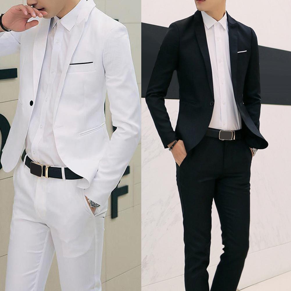 2Pcs Office Business Men Solid Color Lapel Long Sleeve Slim Blazer Pants Suit