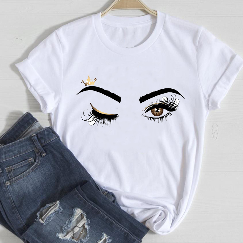 T shirts Women Make Up Crown Fashion 90s Trend 2021 Spring Summer Clothes Graphic Tshirt Top Lady Print Female Tee T Shirt