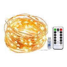 100 светодиодный 10 м медный провод струнные огни с дистанционным