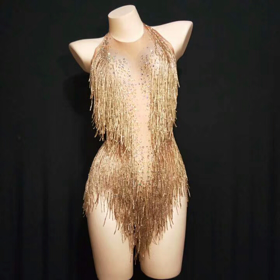 Sparkly Golden Tassel Bodysuit Women Rhinestone Outfit Glisten Beads Costume One-piece Dance Wear Singer Stage Leotard Headdress