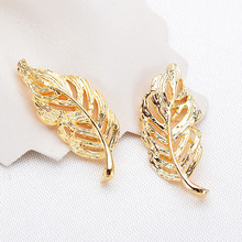 4 Pcs 24 *10 Mm K Gold Color Brass Maple Tree Leaves Charms Pendants High Quality Diy Jewelry Accessories