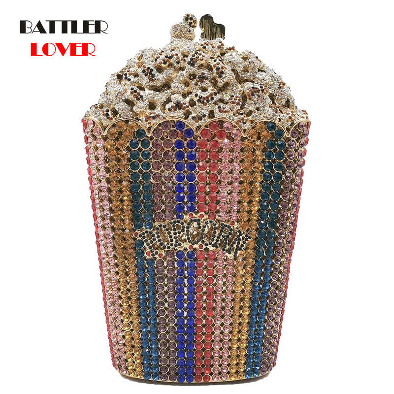 Bags for Women 2019 POPCORN Clutch Minaudiere Bag Women Crystal Evening Bag Diamond Wedding Handbag Girls Luxury Bridal Purse