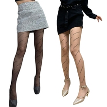 Women Vintage Letters Printed Tattoo Tights Sexy Transparent See-Through Footed Pantyhose Ultra Thin Sheer Stockings Party Clubw