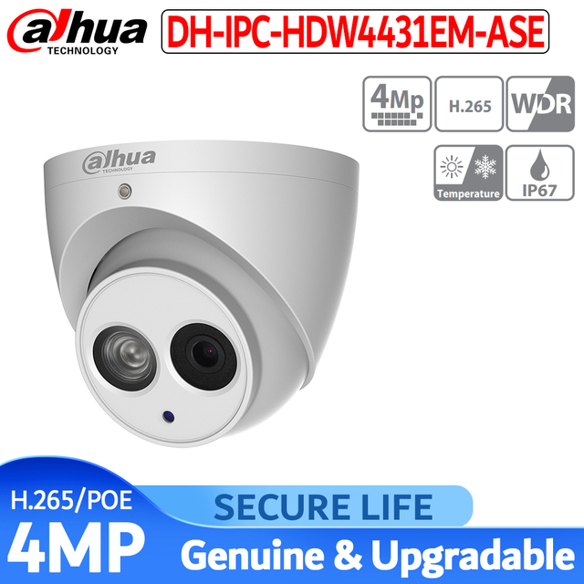 Versione inglese con il logo IPC HDW4431EM ASE 4MP IR Bulbo Oculare Network security ip Camera poe built in mic ip 67 involucro in metallo