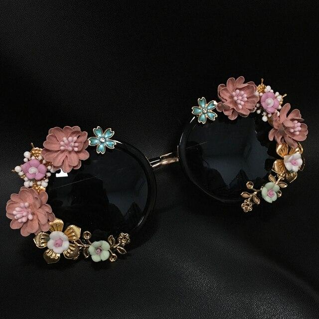 חדש אופנה הבארוק נשים בנות מתכת פרח משקפי שמש רטרו Gems יוקרה משקפי שמש קיץ חוף משקפיים