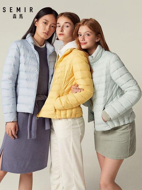 SEMIR 2019 Down Winter Jacket Women Cotton Short Jackets New Down Padded Hooded Warm Autumn Slim Coat Female Casual Tops 1