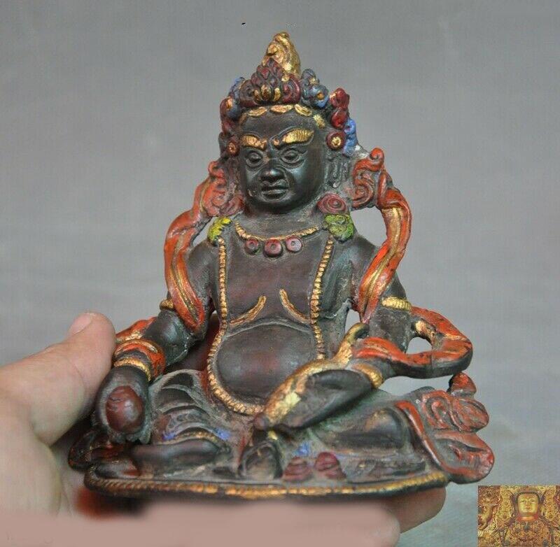 Tibetan Buddhist Brass carved Yellow Jambhala Yellow Mammon Buddha Statue