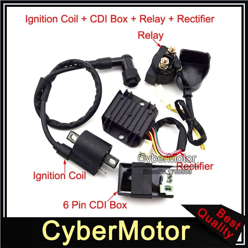 Regler Gleichrichter Anlasser Relais Z/ündspule CDI Box f/ür 50ccm 70ccm 90 110ccm ATV Quad Regler Gleichrichter