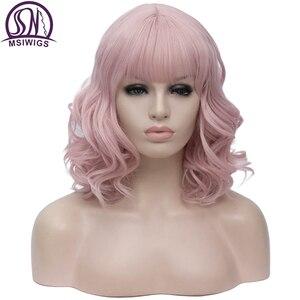 Image 1 - MSIWIGS pelucas de pelo sintético corto Bobo para mujer, color rosa, con flequillo, azul y verde