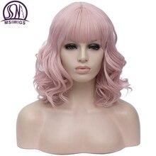 MSIWIGS ショートボボコスプレかつらピンク前髪女性人工毛かつらブルーグリーン