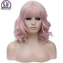 Msiwigs 짧은 보보 코스프레 가발 핑크 bangs 여자 합성 머리 가발 블루 그린