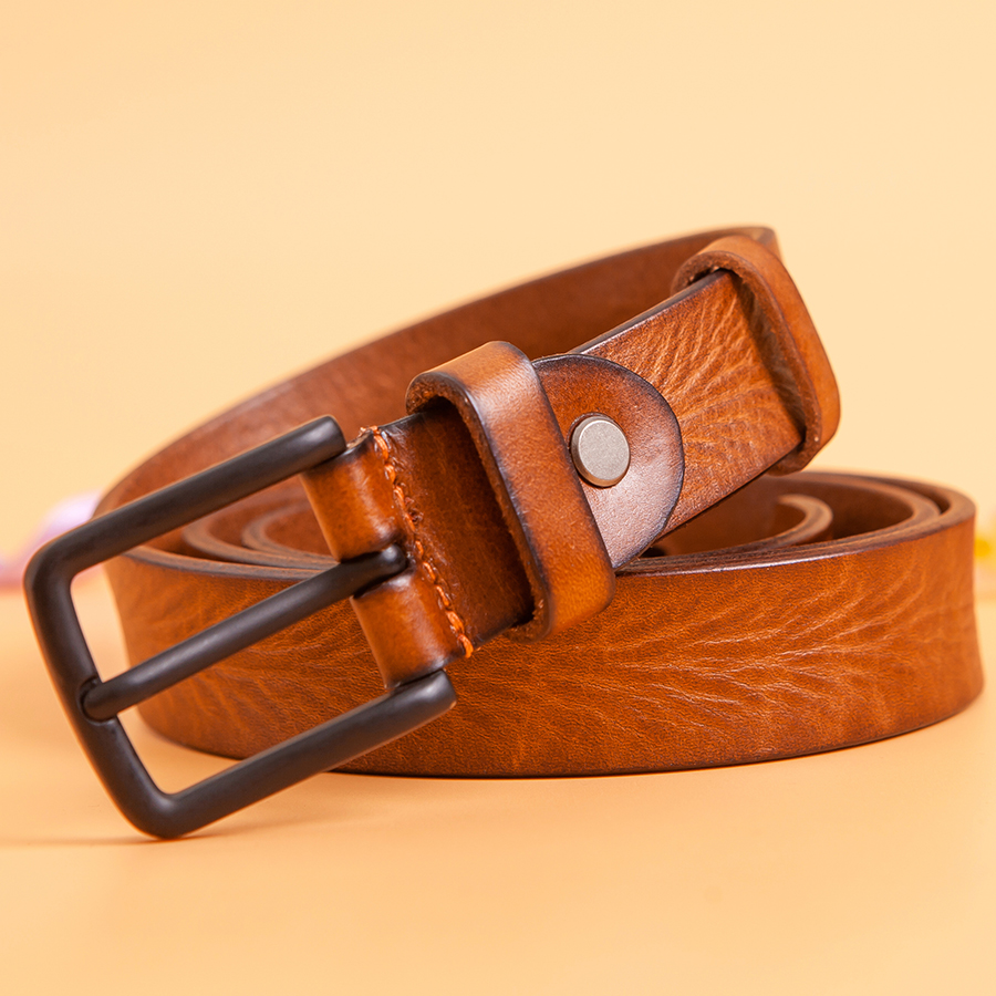 Cinturón de cuero auténtico con estampado para mujer, cinturón de cintura con estampado de Hebilla negra de 2,8 cm, color marrón, 105 ~ 110cm