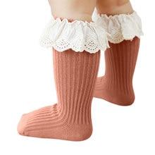 Кружевные носки принцессы с оборками для новорожденных девочек младенцев малышей детей ребристые Нескользящие теплые носки на осень и зим...