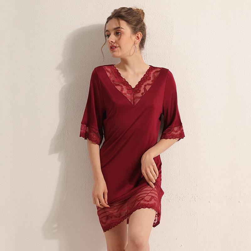 Night dress Natural silk nighties for women sleepwear sexy lace home dress V-Neck Half-sleeve loose summer 2020