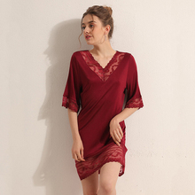 Night dress Natural silk nighties for women sleepwear sexy lace home dress V-Neck Half-sleeve loose
