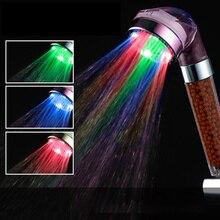 Красочный светодиодный Анион насадка для душа Спа Водосберегающие герметичный контроль температуры красочный свет ручной Большой Дождь душ