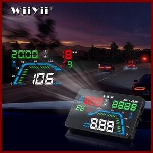 Image 1 - Projecteur de pare brise Q7 pour voiture, multicolore de 5.5 pouces, GPS, affichage tête haute, compteur de vitesse, survitesse, pour tableau de bord, projecteur de pare brise