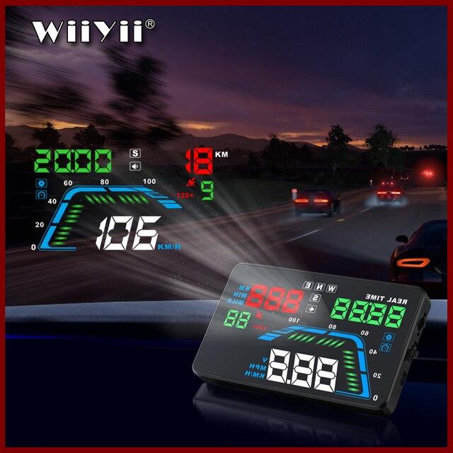 Projecteur de pare brise Q7 pour voiture, multicolore de 5.5 pouces, GPS, affichage tête haute, compteur de vitesse, survitesse, pour tableau de bord, projecteur de pare brise