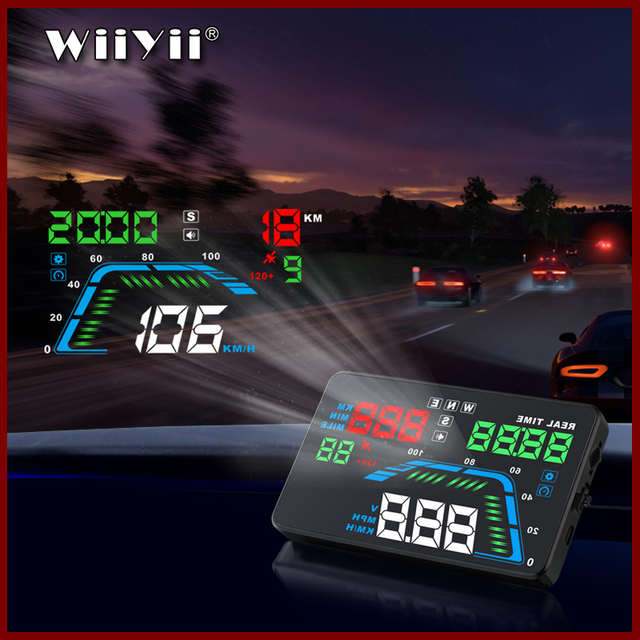 """Universal NEW Q7 5.5"""" Multi Color Auto Car HUD GPS Head Up Display Speedometers Overspeed Warning Dashboard Windshield Projector"""