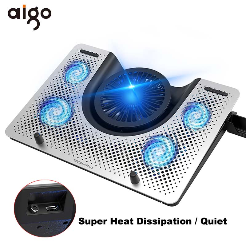 """12/""""-17/"""" Laptop USB Blue LED 5 Fan Notebook Cooling Cooler Stand Pad USB Power"""