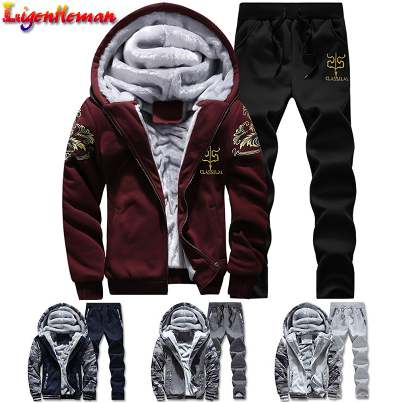 Male Hoodie Sporting Suits New Winter Tracksuits Men Set Thick Fleece Hoodies+Pants Suit Zipper Hooded Sweatshirt Sportswear Set
