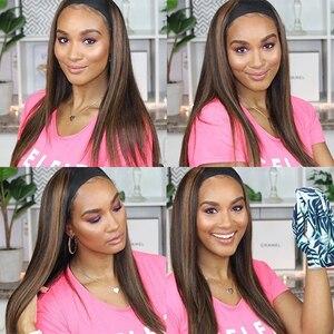 Image 5 - #4/27 destaque colorido perucas de cabelo humano bandana perucas de cabelo humano ombre remy peruca para preto feminino jarin cabelo
