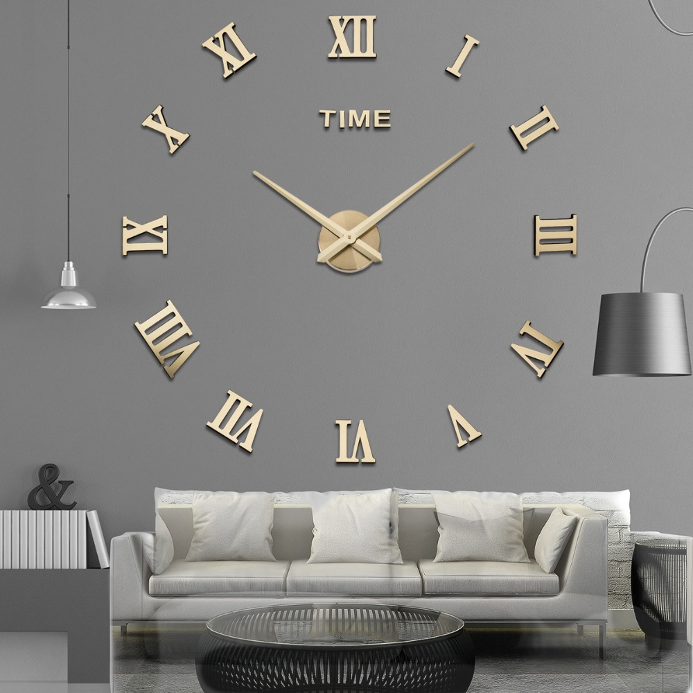 Wall Clock Clocks Modern Design Watch Digital Large Big 3D DIY Home Decor Luminous