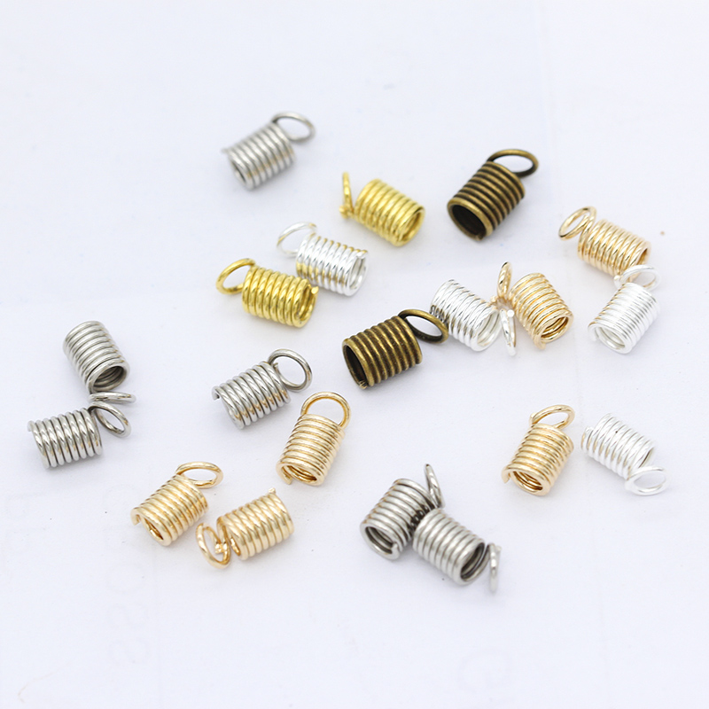 200p 3.5/4.5/5mm Gold silver Spring Crimp Ends Fastener Coil Cord Crimps End Caps Clasps Extension DIY Necklace <font><b>Connector</b></font> Buckle image