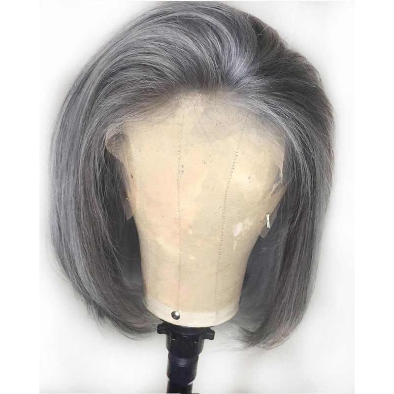 Grijs Gekleurde Menselijk Haar Pruiken Korte Bob 13 × 6 Lace Front Blunt Cut Pruiken 13X6 Side Deel grijs Menselijk Haar Pre Geplukt Remy Pruiken