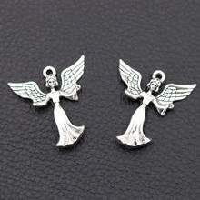 3D Angel Pendant - Beautiful Angel Charm Wisdom Goddess Charms Lucky Angel Charms Flying Wings Charm Tibetan Silver A867 10pcs wings amulet pendant angel wings charms rose wings charms diy handmade jewelry charms tibetan silver tone a2022 10pcs
