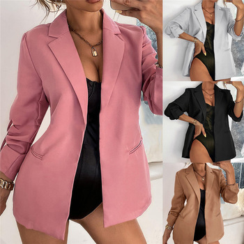 New Women Autumn Blazer Jacket Fashion Basic Blazer Casual Solid Button Long Sleeve Work Suit Coat Office Lady Elegant Blazers