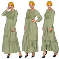 Turkish Women Muslim Long Sleeve Robe Abaya Kaftan Cocktail Jilbab Ladies Gown Arab Long Sleeve Autumn Draped Oman Malay Fashion