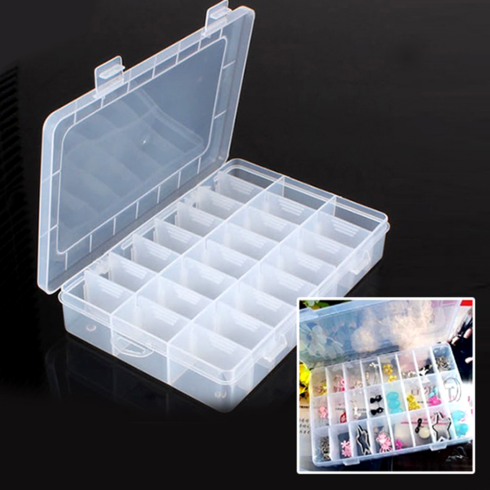 24 Compartments Ornaments Jewelry Storage Box Plastic Adjustable Small Things Jewelry Sub-boxes Organizer Box Containers