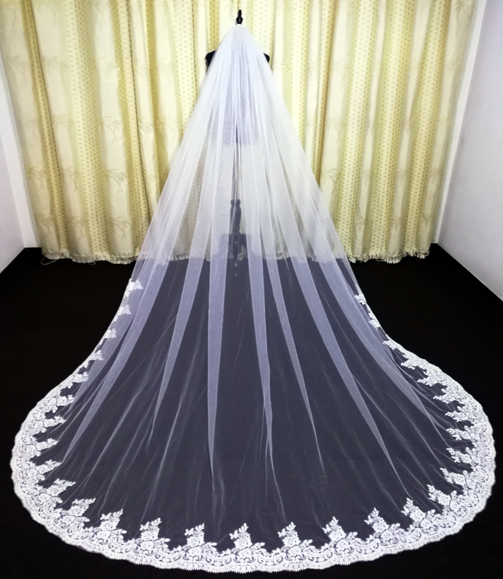 Real Photo New Wedding Bridal Veils Cathedral Length Lace  Custom Made  3m veils wedding accessories