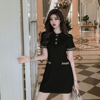 Summer Women Dress Lapel Patchwork Button Sweet Sexy French Style Elegant Solid Color Short Sleeve Dress NEW sweet style solid color button embellished women s suspender skirt
