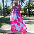 Sexy Deep V Neck Boho Print Maxi Dress Fashion Sleeveless Backless Ladies Dresses Women Casual Loose Holiday Beach Party Dress