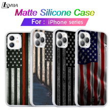 Silicone Cover For iPhone 11 Pro Thin Blue Line American US Flag for iPhone XS Max XR X 8 7 6S 6 Plus 5S Phone Case us national flag style protective epoxy back case for iphone 5 5s red blue