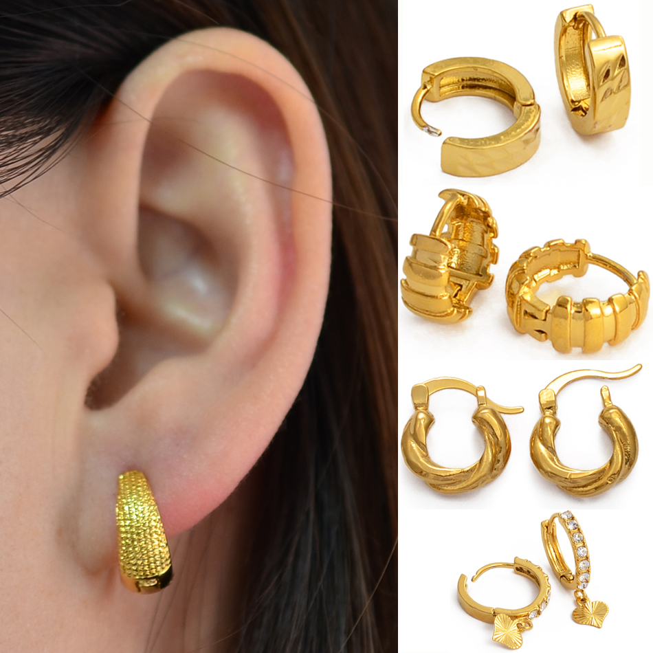 Anniyo Gold Color Small Stud Earrings Women Girl,Wholesale Prices Arab Africa Middle East Earrings Wedding Party Gift #121516