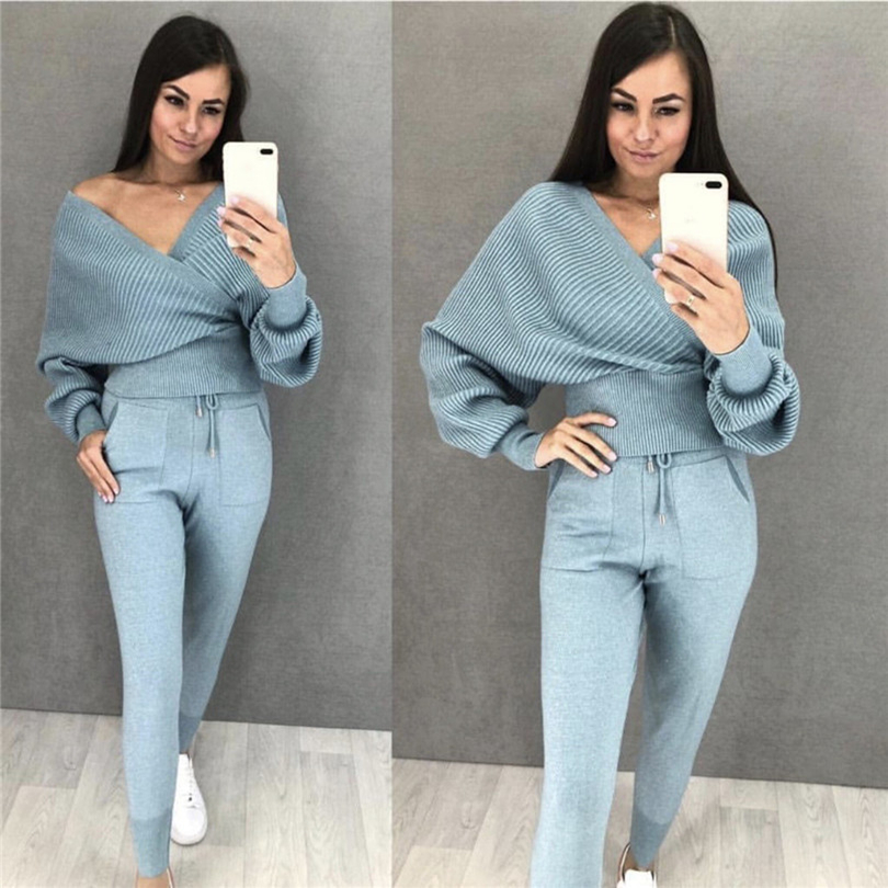 TAOVK Women Knitted Jumpers + Pants Suits Cross V-neck Bat Sleeve Sweater And Elastic Waist Trouser Two Piece Sets