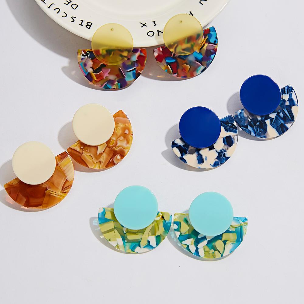 Rinhoo Acrylic Acetate Earrings Fan Shape Women Earring Bohemian Big leopard Pendant Statement Circular Ear Jewelry Accessories(China)