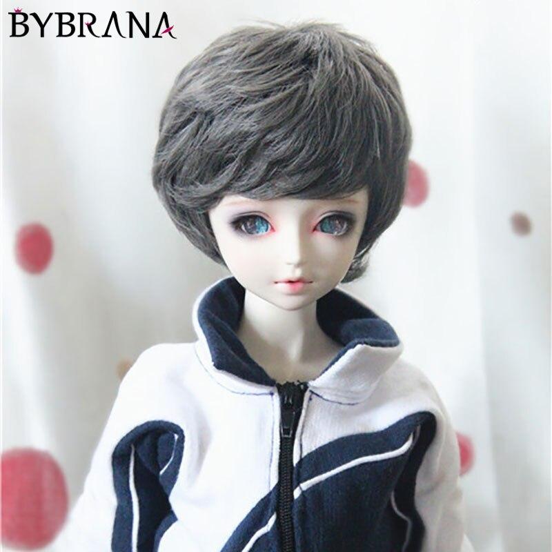 Bybrana Bjd Wig Doll Unisex Short Curly Hair For 1/3 1/4 1/6size Doll Smoke Gray Brown Milk Gold Black