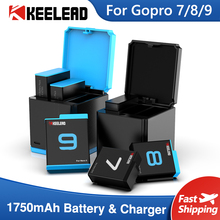 Battery Charger For Gopro Hero 9 8 7 6 5 1750mAh Li ion Battery 3 Way Fast Charging Case Action Video Cameras Accessories