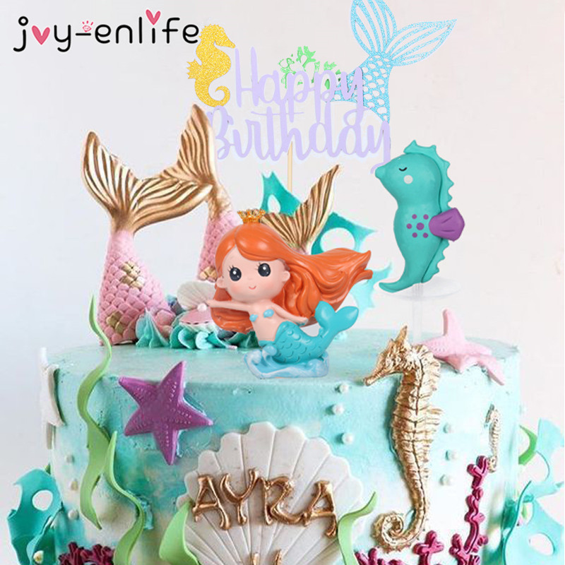 Little Mermaid Party Cupcake Wrappers Happy Birthday Cake Topper Birthday Party Decoration Under The Sea Theme Girl Party Supply(China)