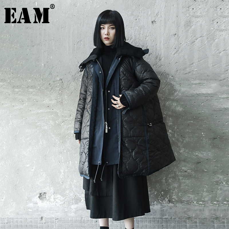 [EAM]  Hooded Blac Split Big Size Cotton-padded Coat Long Sleeve Loose Fit Women Parkas Fashion New Spring Autumn 2020 LE876